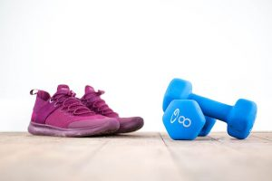 sneakers, weights, exercise, gym, fitness, workout, floor, home, shoes, dumbbells